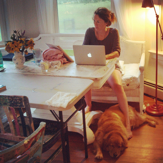 the author with her dog, Daisy, in 2013